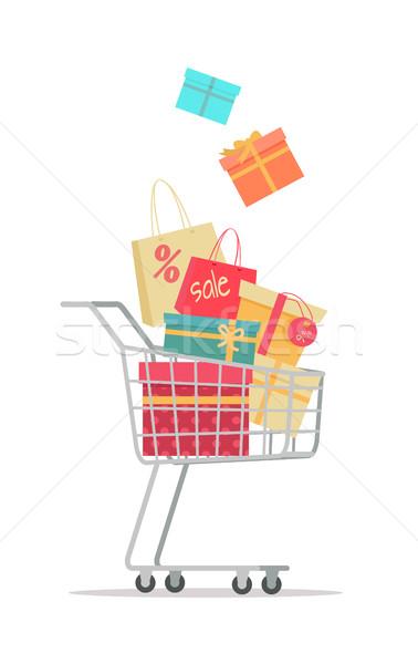 Stock fotó: Vásárol · ajándékok · vásár · vektor · terv · bevásárlókocsi