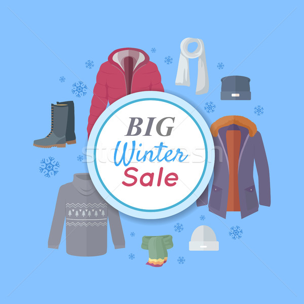 Big Winter Sale. Winter Clothes Web Banner Poster Stock photo © robuart