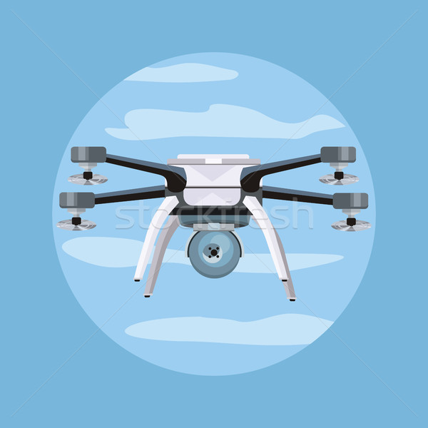 Flying Drone Vector Illustration in Flat Design Stock photo © robuart