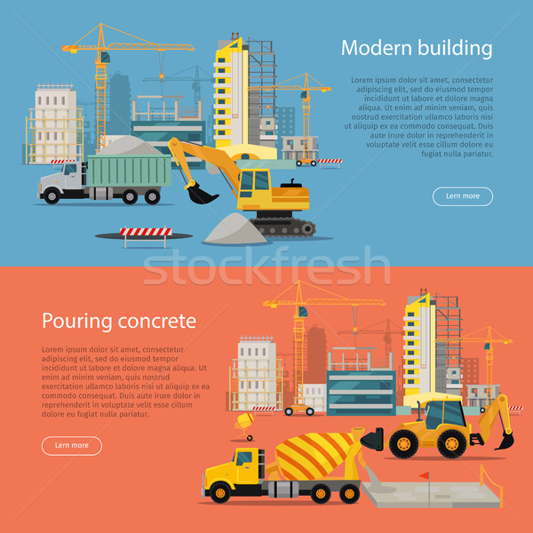 Modern Building. Process of Pouring Concrete. Stock photo © robuart