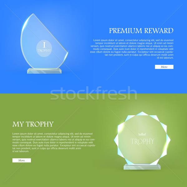 Premium Reward. My Trophy. Triumph Glass Award Stock photo © robuart