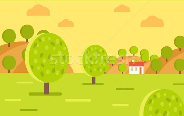 Village Garden or Fruit Farm Landscape Vector Stock photo © robuart