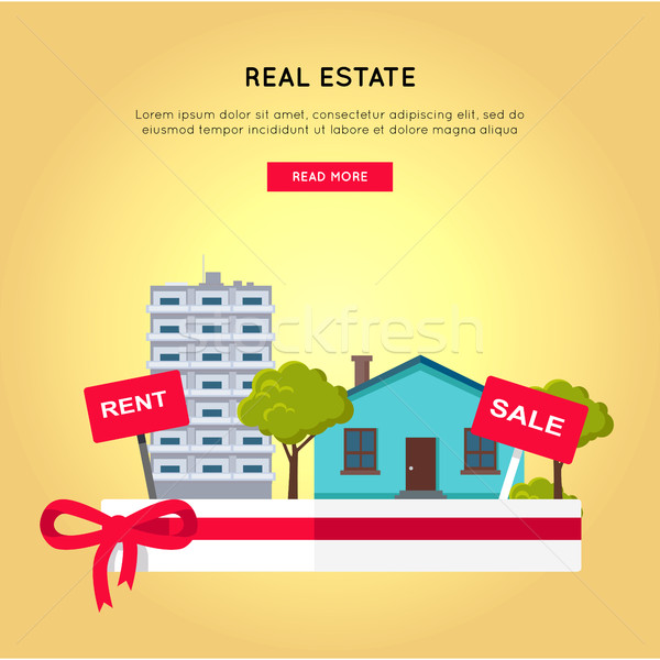 Real Estate Vector Web Banner in Flat Design. Stock photo © robuart