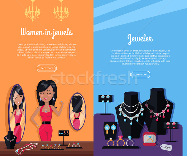 Women in Jewels and Jeweler Banner. Jewelry Stock photo © robuart