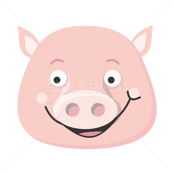 Pig Face Vector Illustration in Flat Design Stock photo © robuart