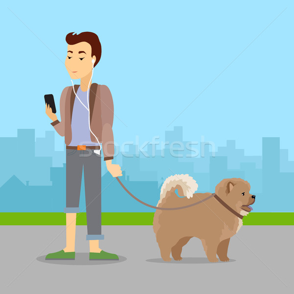 Phlegmatic Temperament Type Boy Walking with Dog Stock photo © robuart