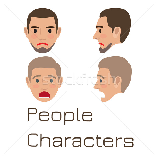 Man Emotive Faces Collection Flat Vector Stock photo © robuart