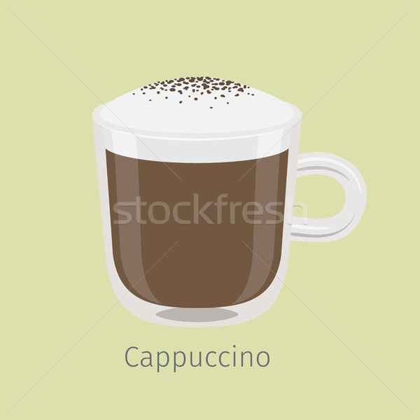Glass Mug of Cappuccino with Creamy Foam Vector Stock photo © robuart