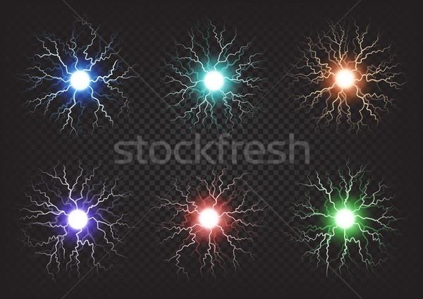 Bolas de fuego colorido establecer transparente oscuro seis Foto stock © robuart