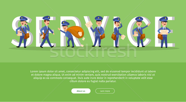 Parcel Conceptual Web Banner with Cartoon Postman Stock photo © robuart