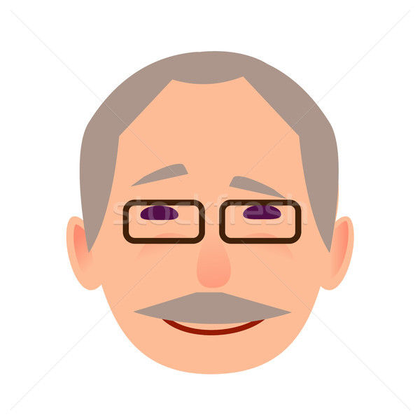 Laughing Old Man in Glasses Face Flat Vector Icon Stock photo © robuart