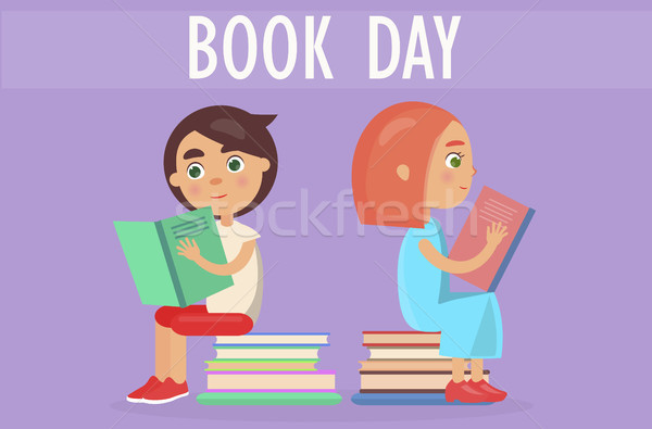 Gyerekek köteg irodalom könyv nap kártya Stock fotó © robuart