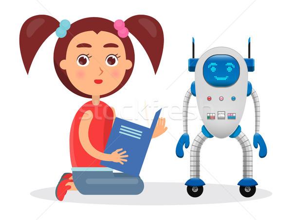 Lány könyv vmi mellett kicsi robot futurisztikus Stock fotó © robuart