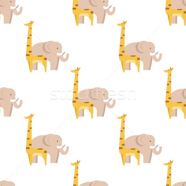Grafische giraffe groot olifant geïsoleerd Stockfoto © robuart
