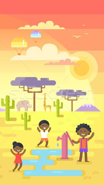 Stock fotó: Afrikai · gyerekek · játszik · víz · kívül · csap