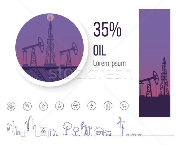Olie-industrie procent poster iconen vector zwarte Stockfoto © robuart