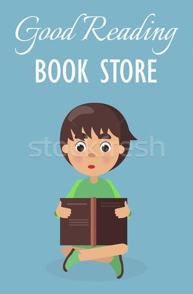 Kicsi fiú jó olvas könyvesbolt kék Stock fotó © robuart