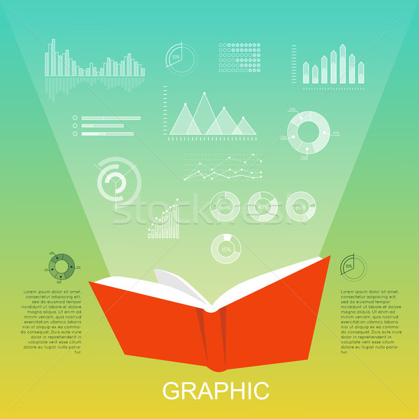 Open Red Book that Lighten Column Charts, Diagrams Stock photo © robuart