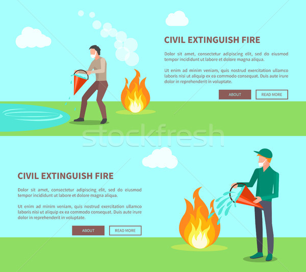 Civil Extinguish Fire Set of Posters with Text Stock photo © robuart