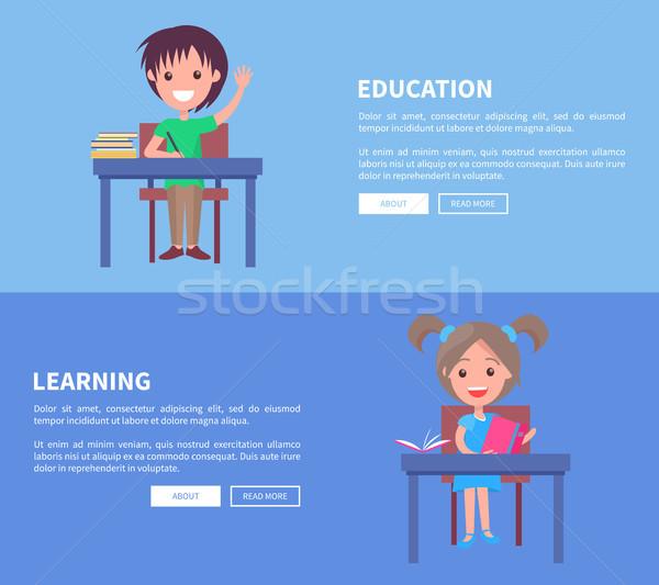 Сток-фото: образование · обучения · набор · горизонтальный · плакатов · два