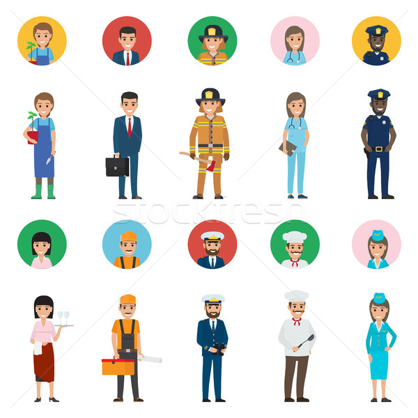 Concept of Professions. Full-length and Round Icon Stock photo © robuart
