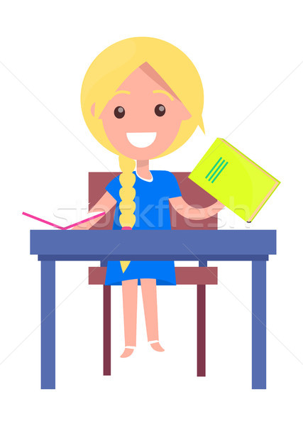 Learning Banner with Blonde Girl with Textbook Stock photo © robuart