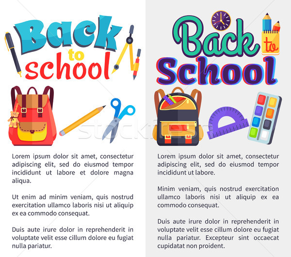 Back to School Posters Set with Place for Text Stock photo © robuart