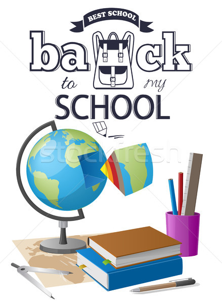 Back to School Sticker with Black-and White Text Stock photo © robuart