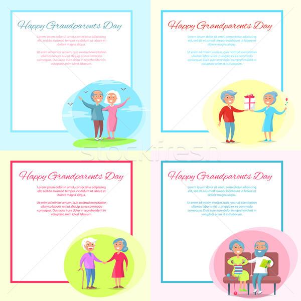 Happy Grandparents Day Posters Set Senior Couple Stock photo © robuart