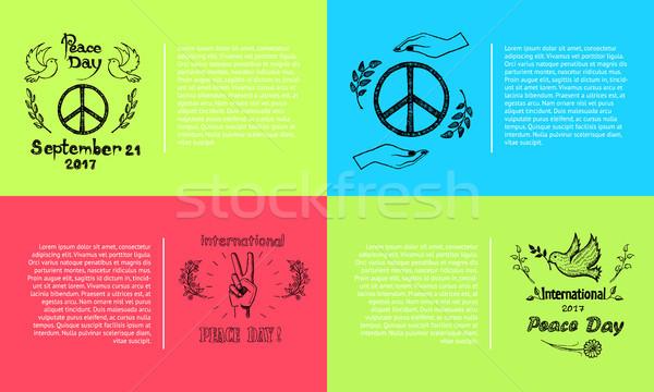 Stock fotó: Béke · nap · szett · nemzetközi · négy · kép