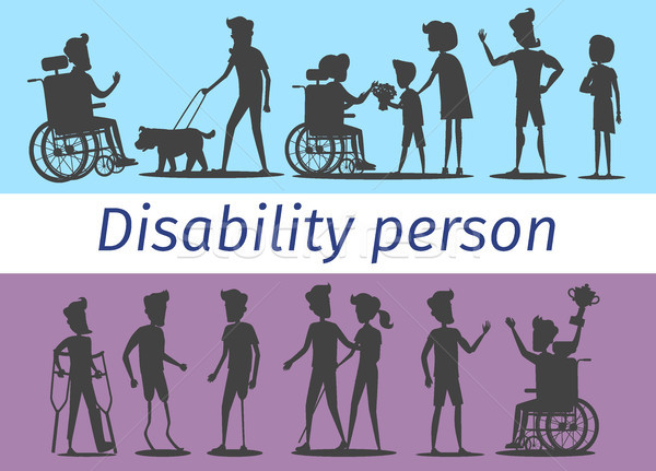 Disability Person Silhouettes Illustrations Set Stock photo © robuart