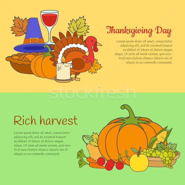 Dankzegging dag rijke oogst banners ingesteld Stockfoto © robuart