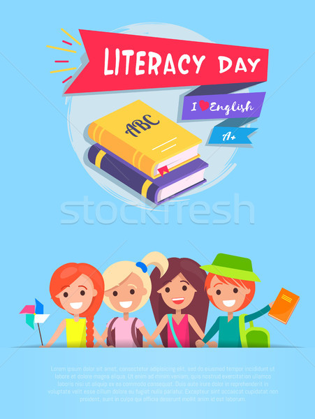 Literacy Day Light-Blue on Vector Illustration Stock photo © robuart