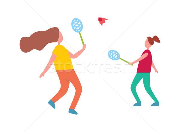 Anne kız oynama badminton örnek yalıtılmış Stok fotoğraf © robuart