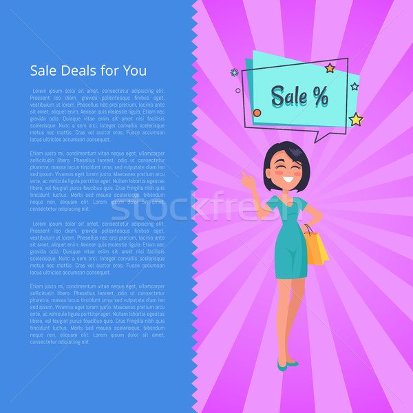 Sale Deals for You Poster with Woman Buyer Vector Stock photo © robuart