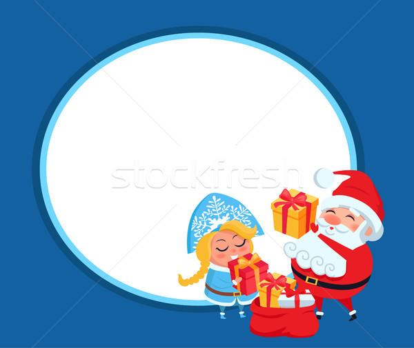 Snow Maiden and Santa Claus Vector Illustration Stock photo © robuart