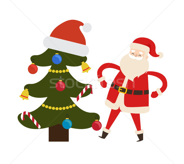 Decorated Spruce Tree and Saint Nicholas Character Stock photo © robuart