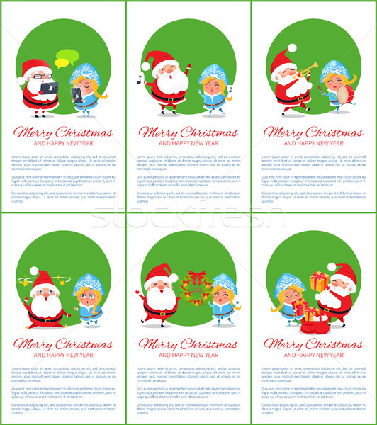 Merry Christmas Set of Posters Vector Illustration Stock photo © robuart