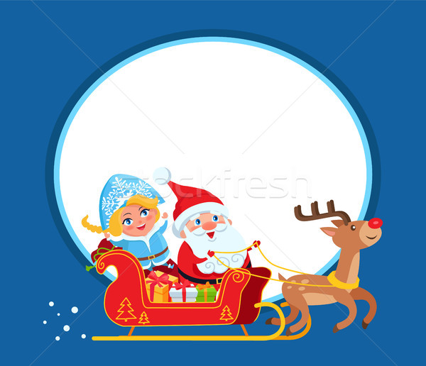 Stock photo: Santa Claus and Snow Maide on Sleigh with Deer