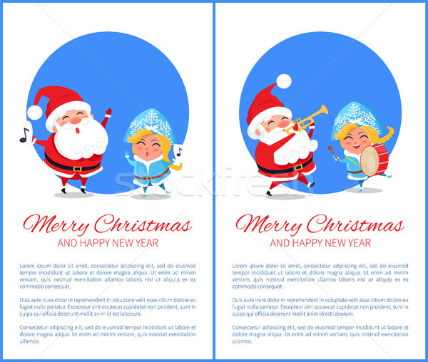 Merry Christmas Text and Image Vector Illustration Stock photo © robuart