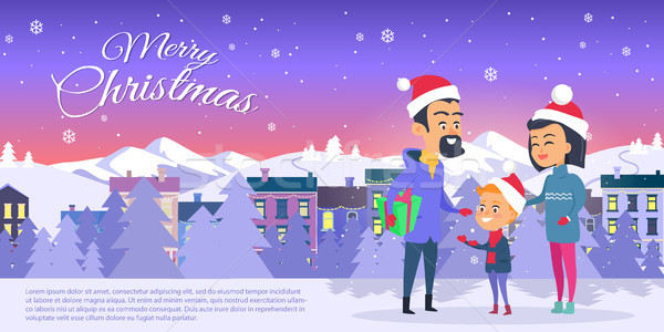 открытки веселый Рождества город счастливая семья красный Сток-фото © robuart