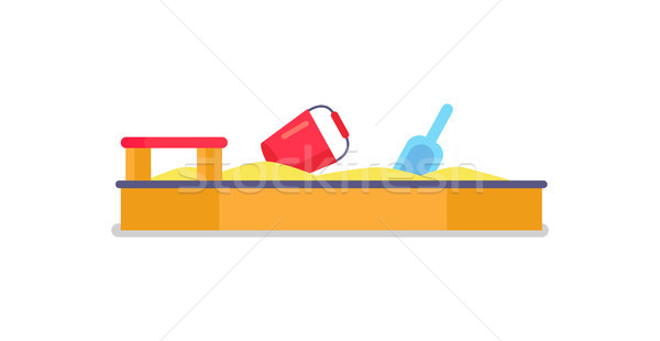 Yellow Sandbox with Sand, red Wooden Seat, Vector Stock photo © robuart