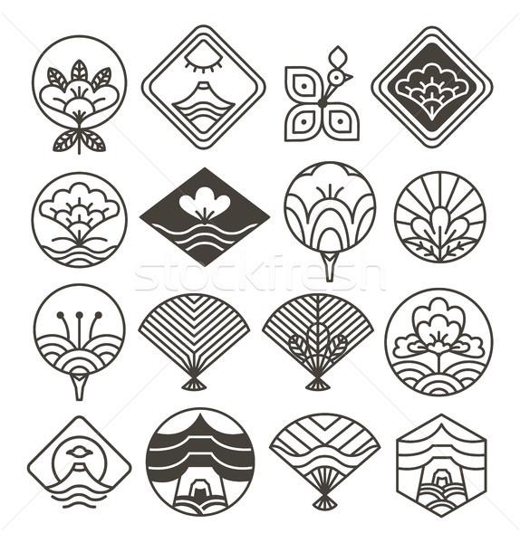 日本語 モノクロ 民族 モチーフ アイコン ストックフォト © robuart