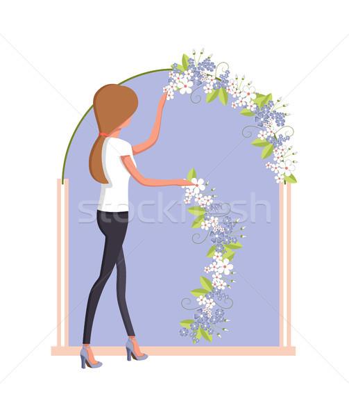 Organizasyon düğün kadın çift çiçekler Stok fotoğraf © robuart