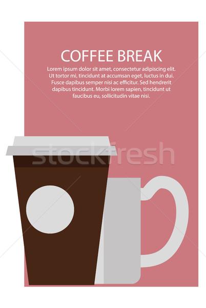 Pausa caffè poster testo campione titolo sopra Foto d'archivio © robuart