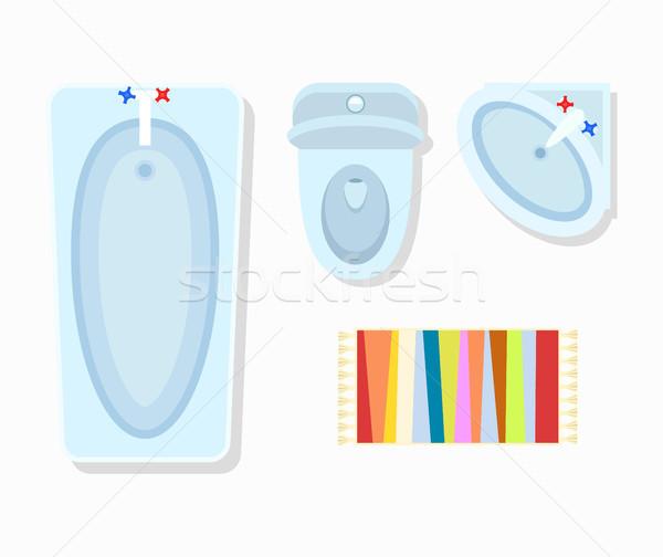 Toilettes design d'intérieur salle de bain baignoire toilettes chantent Photo stock © robuart