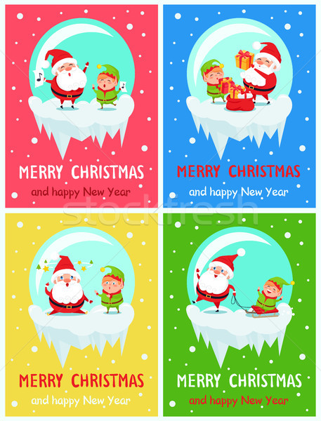 Happy New Year Merry Christmas Poster Santa Elf Stock photo © robuart