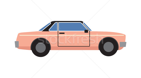 Roze retro coupe auto geïsoleerd icon Stockfoto © robuart