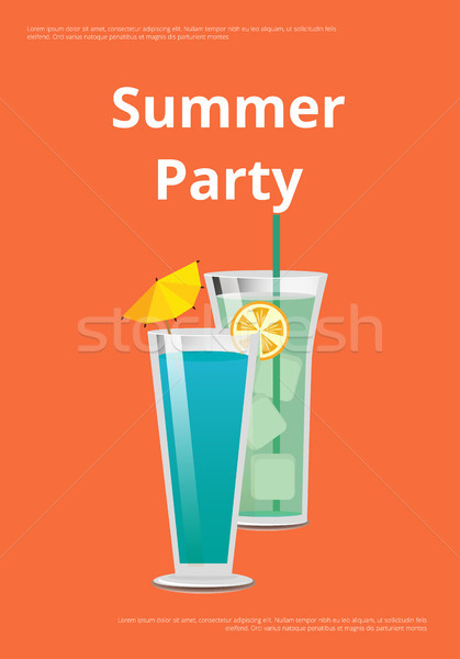 Summer Party Poster with Mojito and Mint Cocktail Stock photo © robuart