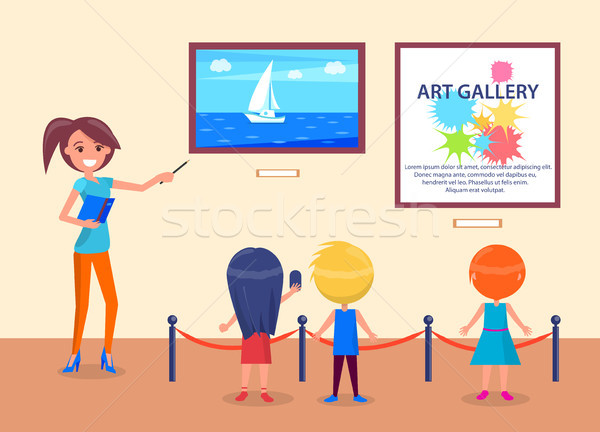Art Gallery Excursion School Children with Guide Stock photo © robuart